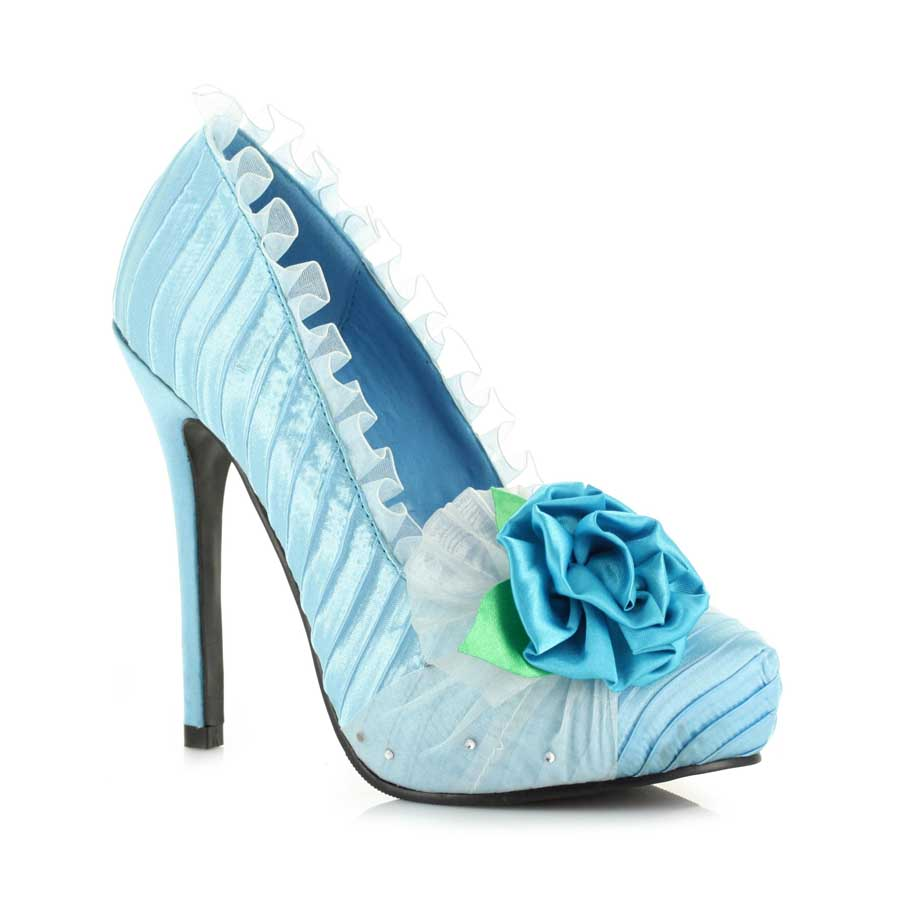 "5"" Satin Pump with Flower and Rhinestone décor. Womens."
