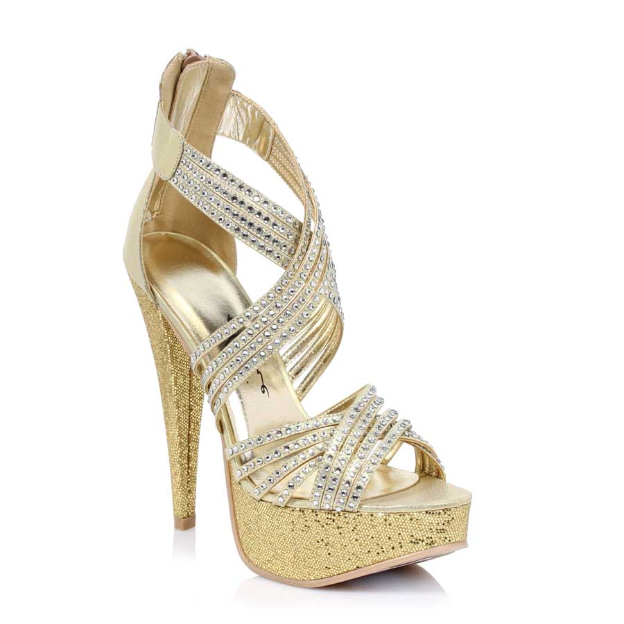 "ES:532-MIA Gold 5"" Metallic Heel with tripple straps"