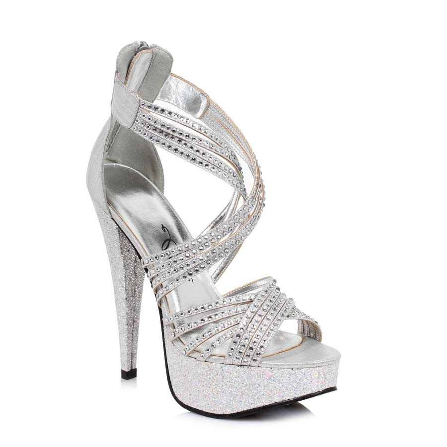 "ES:532-MIA Silver 5"" Metallic Heel with tripple straps"