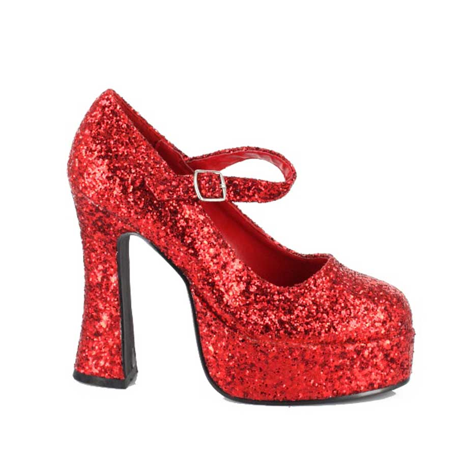 "5"" Chunky Heel with 1.5\"" Platform Glitter Mary Jane."