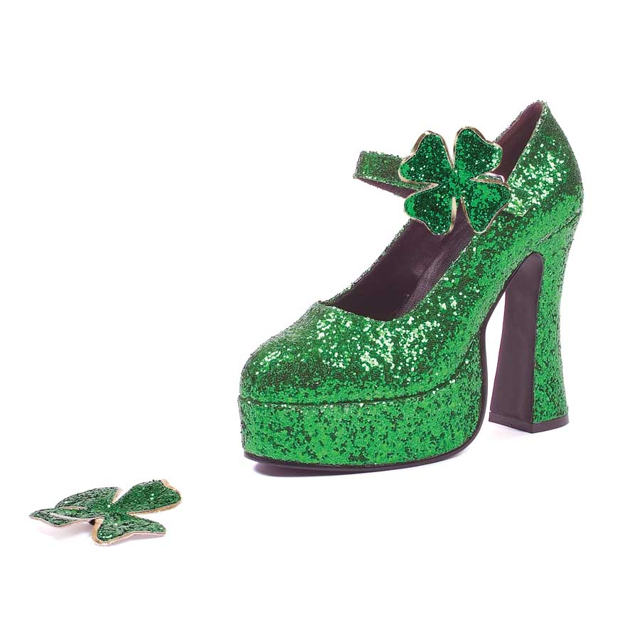 "5"" Chunky Heel with 1.5\"" Platform Green Glitter Mary Jane"