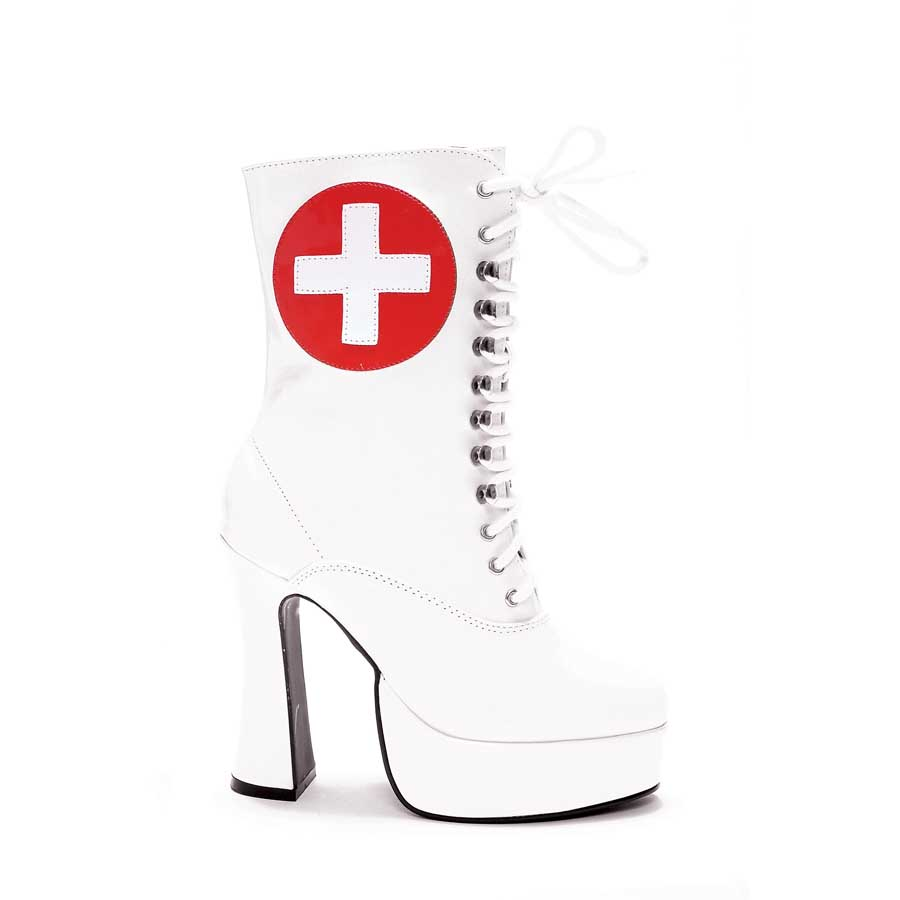 "5.5"" Heel with 1.5\"" Platform Ankle Nurse Boot W/Inner Zipper."