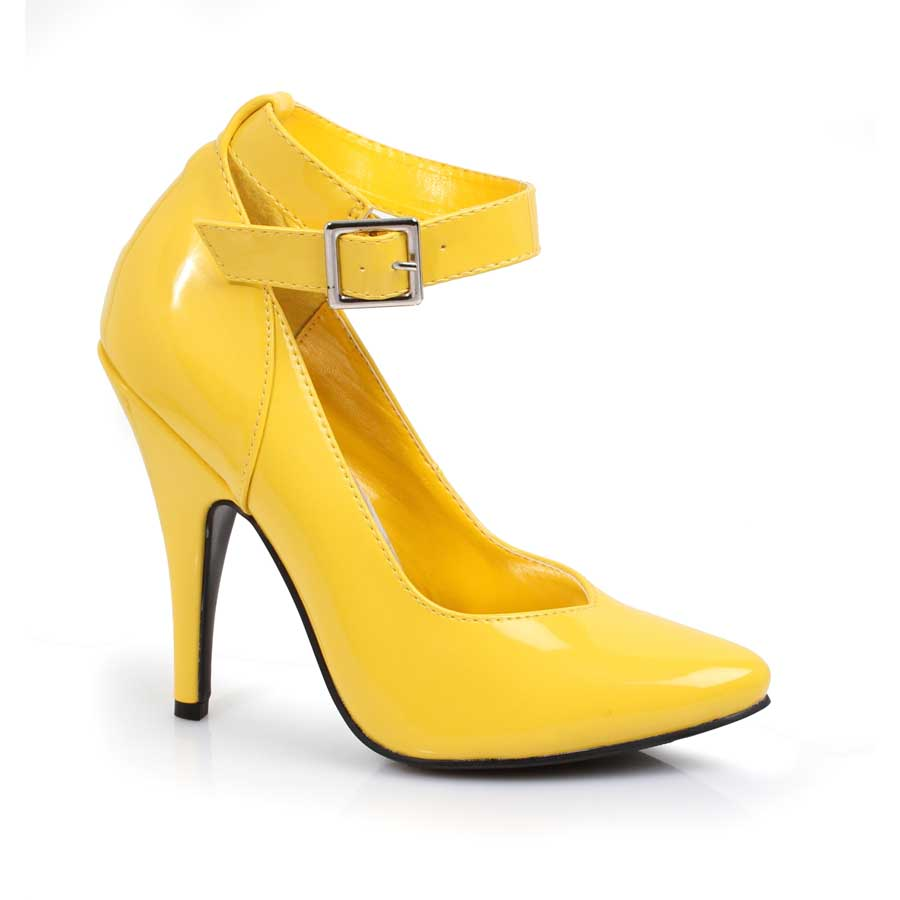 "ES:8221"" Yellow 5"" Heel Pump W/Ankle Strap."