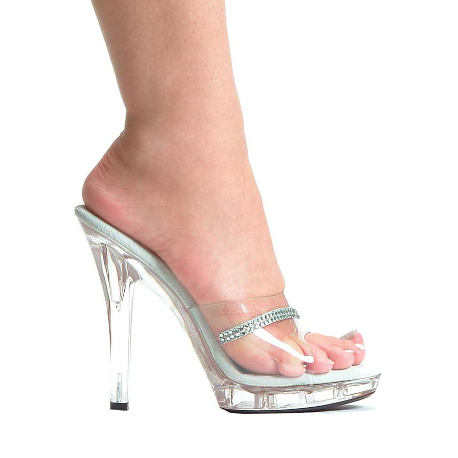 "ES:M-JESSE Clear 5"" Clear Sandal with rhinestones."