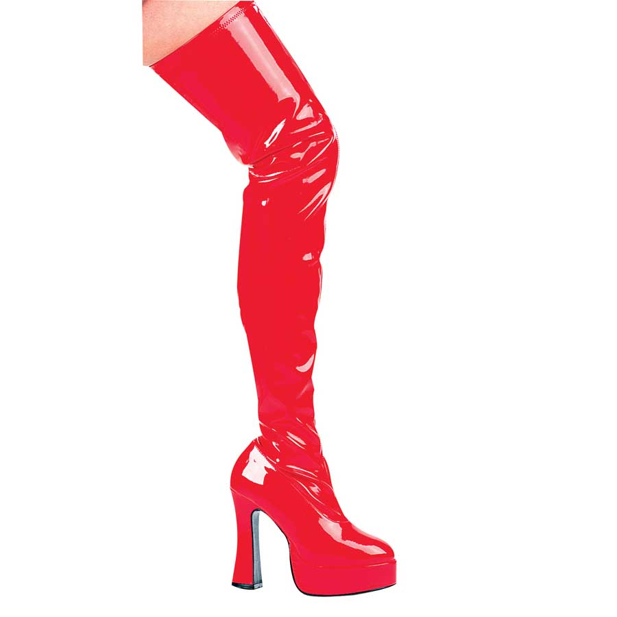 "5"" Chunky Heel with 1.2\"" Platform Thigh High Stretch Boots."