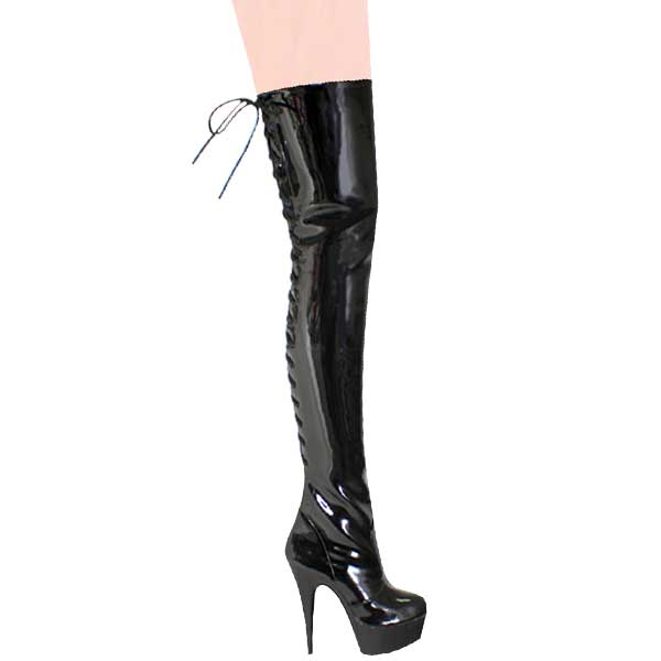 6 Inch Heel Thigh Boots - Black Patent