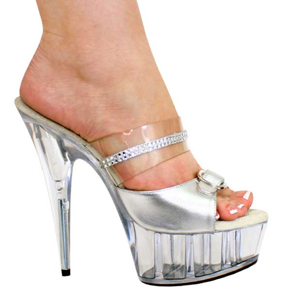 6 inch Slip On Sandal - Silver/Clear