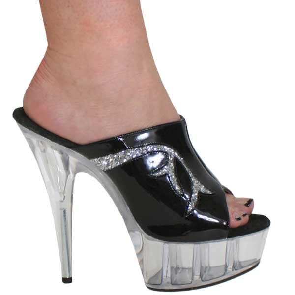 6 Inch High Heel Slide - Black Pat/Clear
