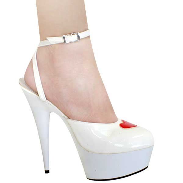 6 Inch High Heel - White Patent