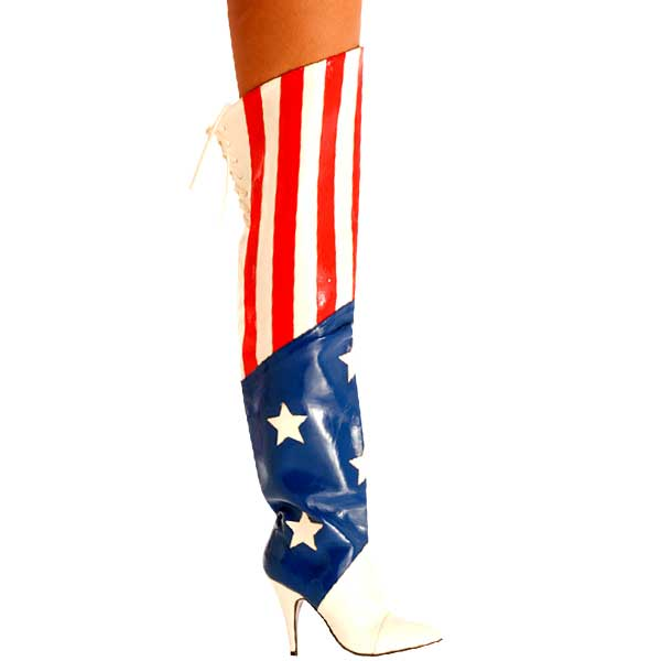 4.75 Inch USA Thigh Heel Boot - Red, White & Blue