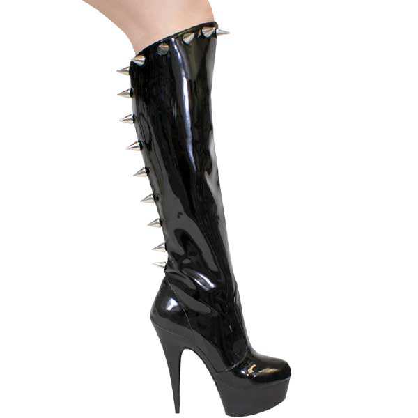 0f2683f8fce5 6 inch Fetish Knee High Boot with Spikes - Black