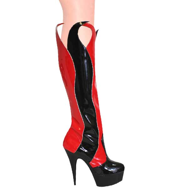 6 Inch High Heel Knee Boots - Flame Design
