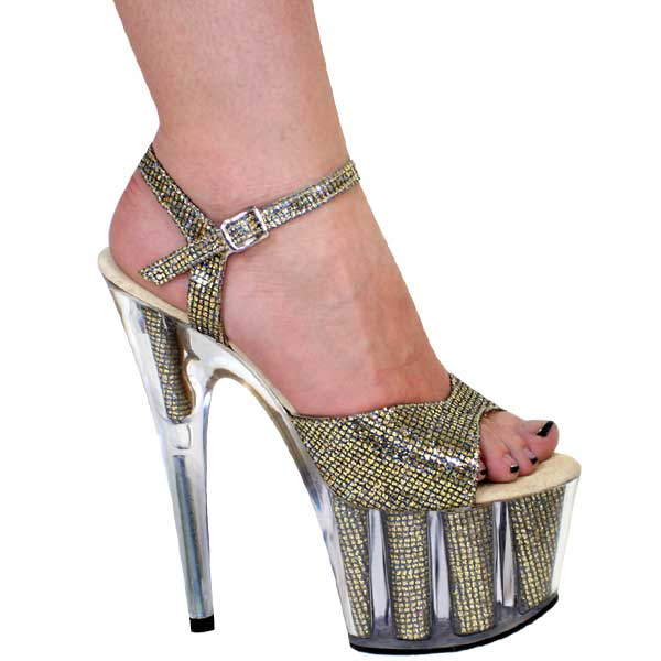 7 inch Metallic Sexy Sandal on Clear base