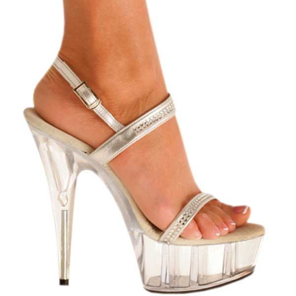 6 Inch Heel Silver Evening Shoes