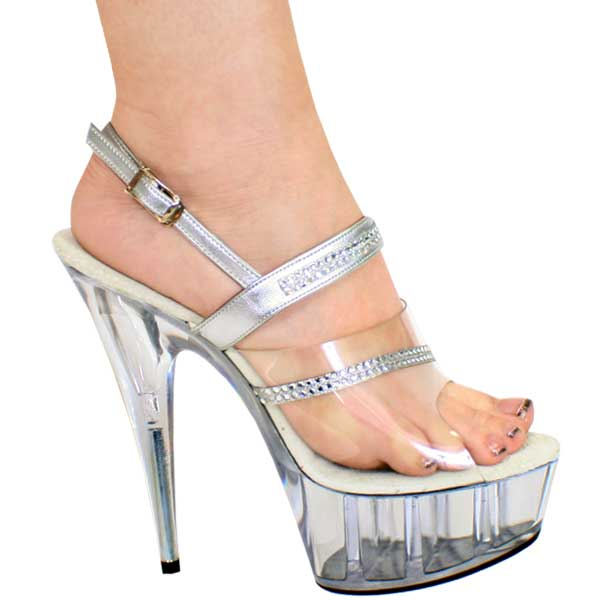 6 inch Clear-Silver Sling Back High Heel Shoe