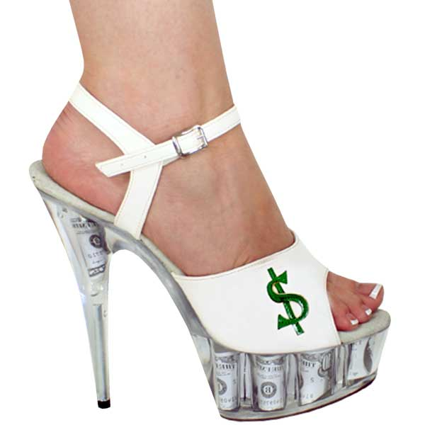 6 inch Heel Sexy Sandal - White/Clear w/$