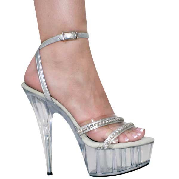 6 inch Sexy Sandal with Ankle Strap - Clear-Silver