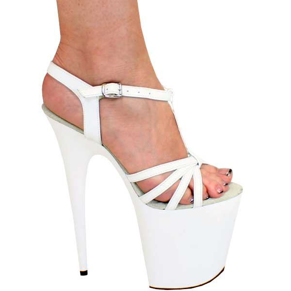 8 inch Sexy Sandal - White Leather