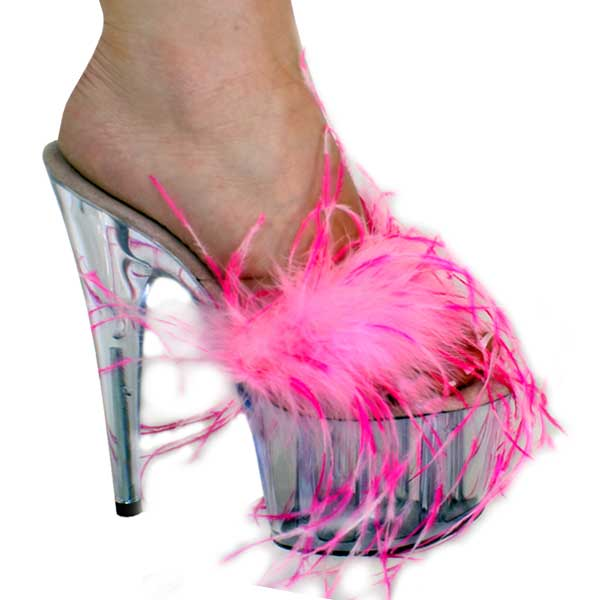 7 inch Long Feather Slip On Mule