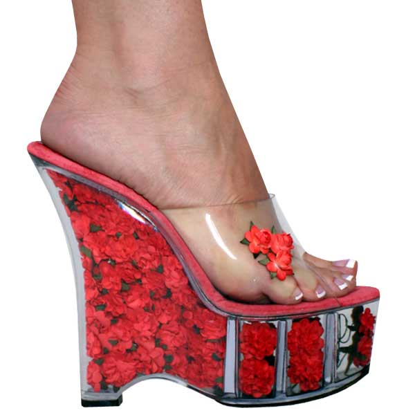 6 inch Wedge w/flowers in the platform