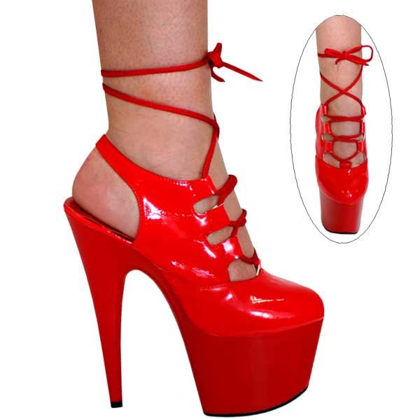 7 inch Lace Up Open Heel Pump