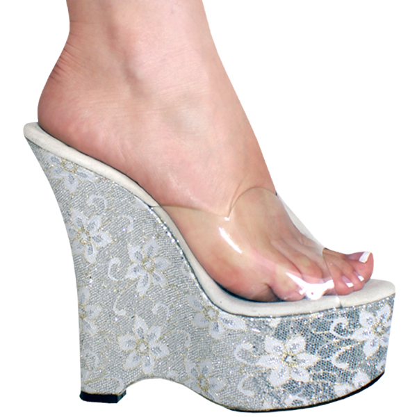 6 Inch Glitter Wedge Platform High Heel