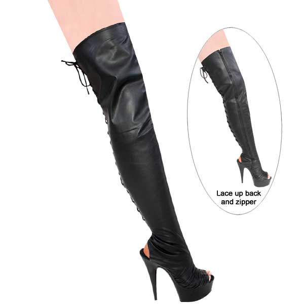 6 inch Leather Thigh High Boot - Back Lace-Up w/Zipper