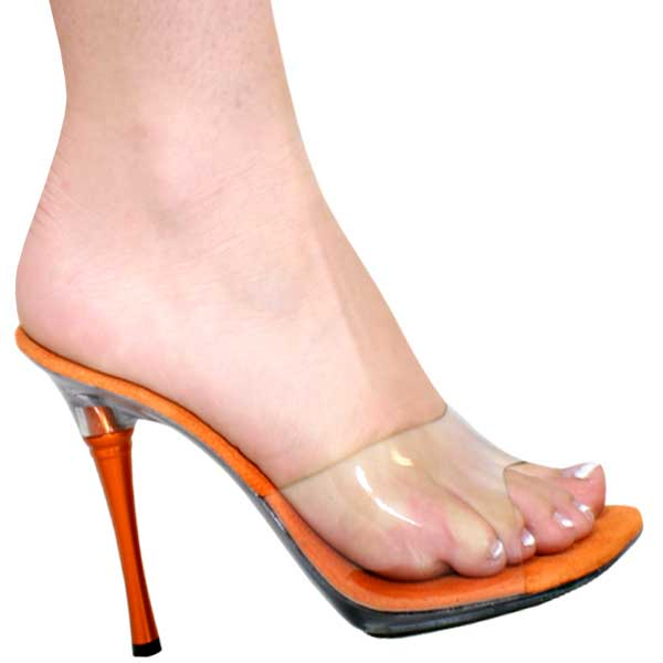 4 Inch Heel Clear/Orange Metal Heel