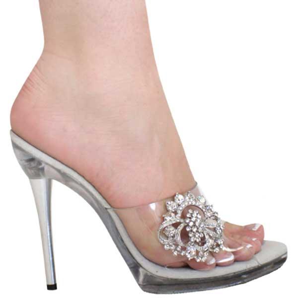da2ad5f8c88217 5 inch Heel Mule Clear w Metal Heel