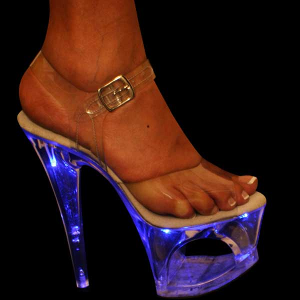 7 inch Open Platform Sandal w/Blue lights in platform