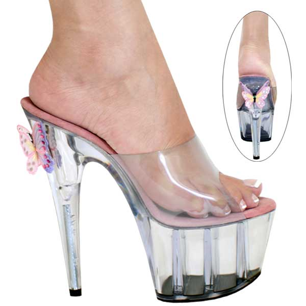 7 inch Clear B-Fly Slip On Mule