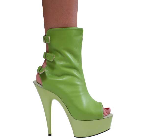 "6"" inch Lime Green Leather Ankle Boot"