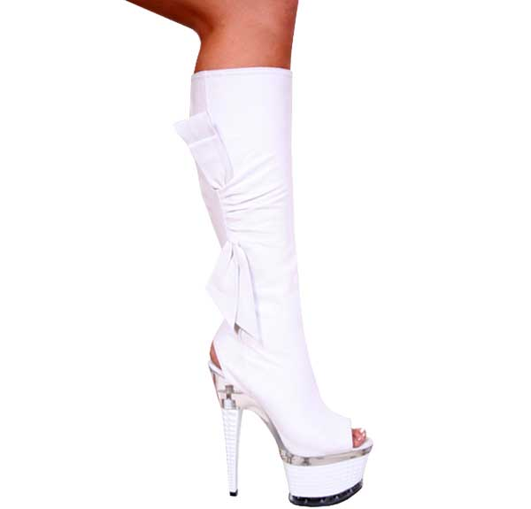"7"" inch White Leather Open Toe and Heel Knee Boot"