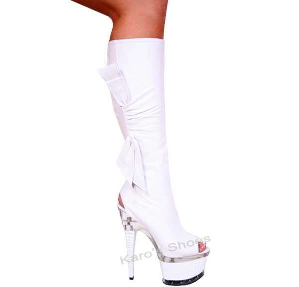7 Inch White Diamond Shaped Stiletto Heel Knee Boots
