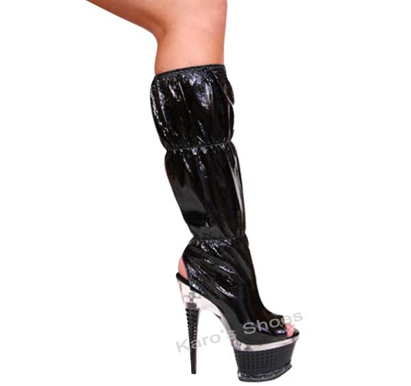 7 Inch Black Diamond Shaped Stiletto Heel Knee Gathered Boots
