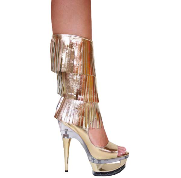 "6"" inch Gold Leather Knee High Boot"