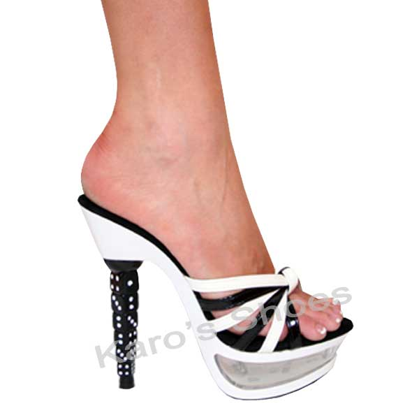 Black And White 5.5 Inch Stacked Dice Heel Strappy Slides Platfo