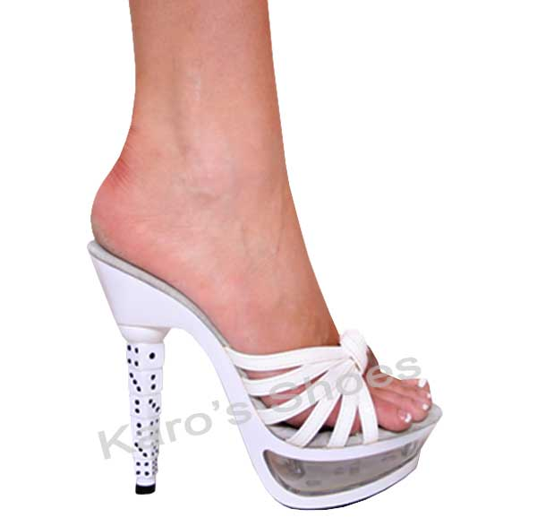 White 5.5 Inch Stacked Dice Heel Strappy Slides Platform