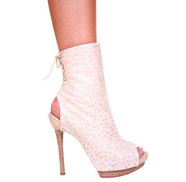 "5.5"" inch Beige Croko Open Toe and Heel Bootie by Vicaro"