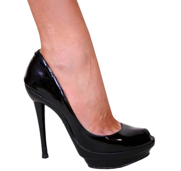 "5.5"" inch Black Patent Leather Peep Toe Pump by Vicaro"