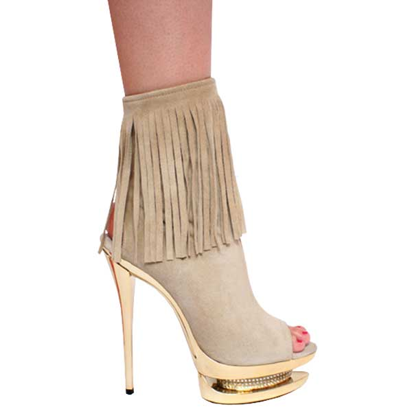 "6"" inch Beige Suede Open Toe and Heel Bootie by Vicaro"