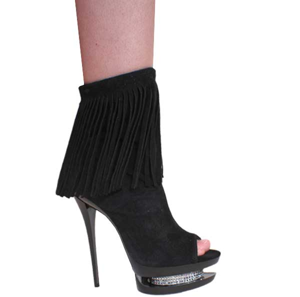"6"" inch Black Suede Open Toe and Heel Bootie by Vicaro"