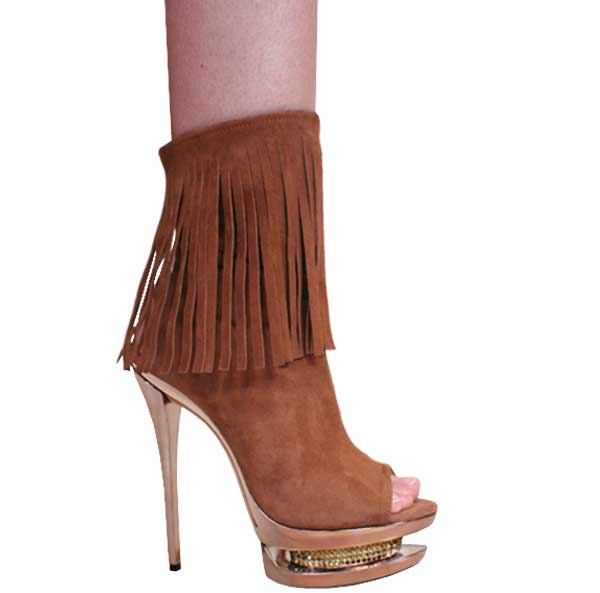 6 Inch Brown Fringed Suede Bertina Platform