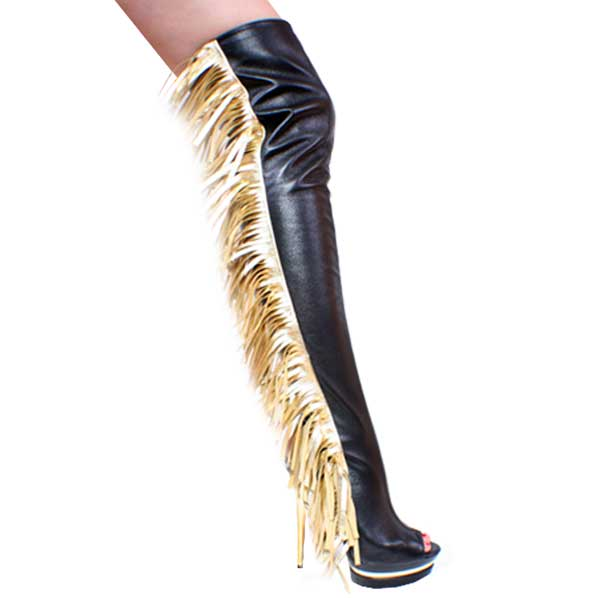 6 Inch Black Leather Thigh Hi Boots with gold metallic leather f