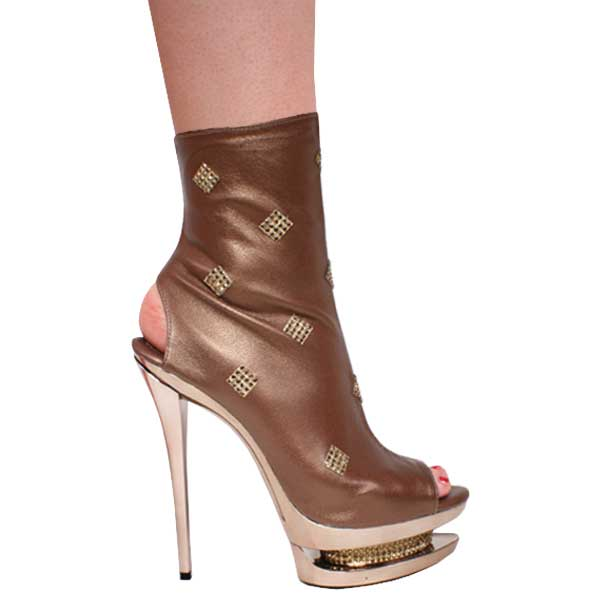 "6"" inch Metallic Bronze Leather Open Toe and Heel Bootie by Vica"