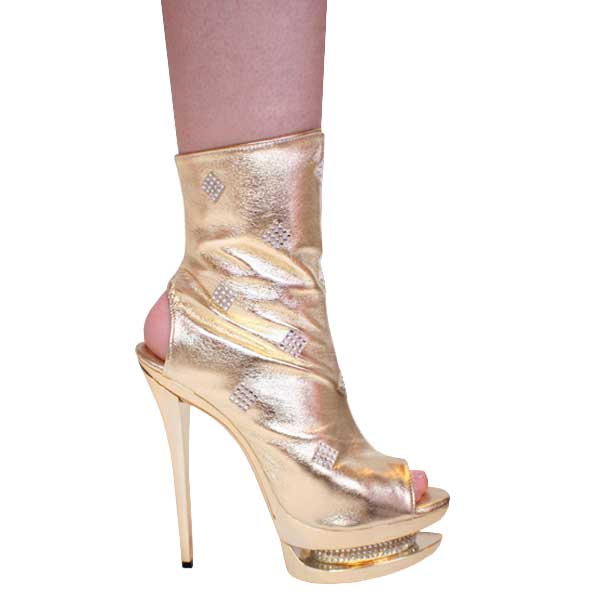 Gold 6 Inch Pencil Heel Platform Stiletto Ankle Boots