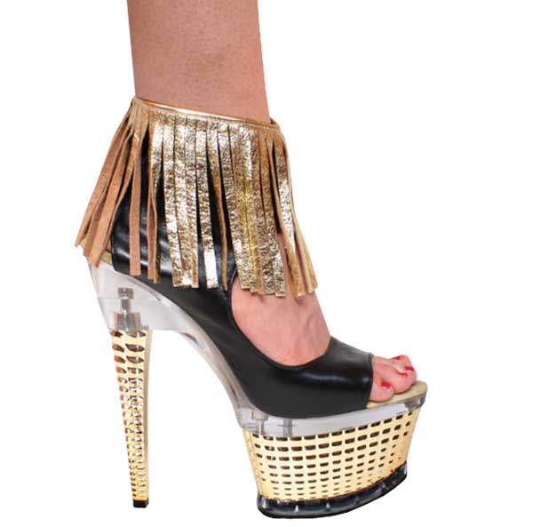 "7"" inch Gold & Black Leather Open Toe and Heel Bootie"
