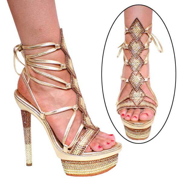 "6"" inch Gold Leather w/Multi Sw. r/s Strappy Sandal by Vicaro"