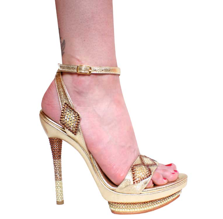 "5.5"" inch Gold Leather w/Multi Sw. r/s Platform Sandal by Vicaro"