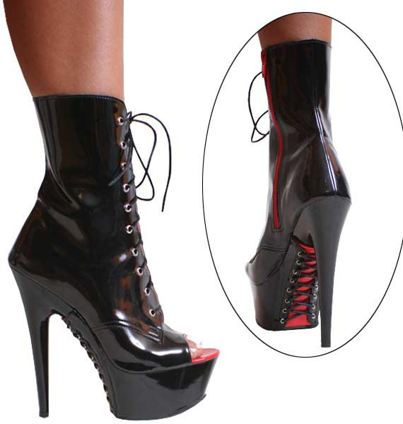 "KS:3363 Black/Red Patent with Lace Up, 6"" Ankle Boot"